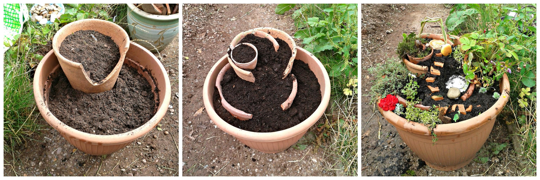 Fairy Garden From Broken Pots Space Gardening Space